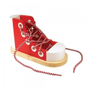 Melissa & Doug Deluxe Wood Lacing Sneaker - Learn to Tie a Shoe Educational Toy Clearance Sale