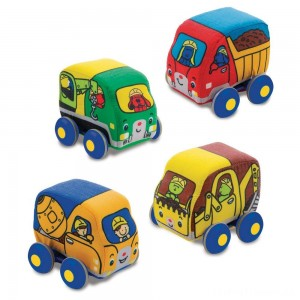 Melissa & Doug Pull-Back Construction Vehicles - Soft Baby Toy Play Set of 4 Vehicles Clearance Sale