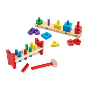 Melissa & Doug Classic Wooden Toy Bundle - Pound-A-Peg, Stack and Sort Board Clearance Sale