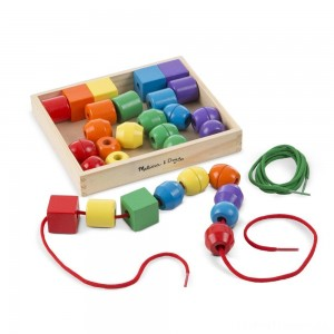 Melissa & Doug Primary Lacing Beads - Educational Toy With 30 Wooden Beads and 2 Laces Clearance Sale
