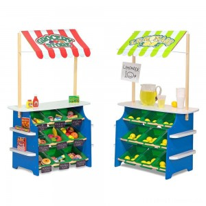 Melissa & Doug Wooden Grocery Store and Lemonade Stand - Reversible Awning, 9 Bins, Chalkboards Clearance Sale