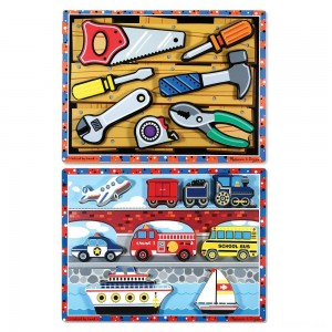 Melissa & Doug Doug Vehicles and Tools Wooden Chunky Puzzle Bundle 2pc Clearance Sale