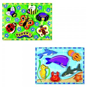 Melissa & Doug Wooden Chunky Puzzles Set - Ocean Animals and Insects 14pc Clearance Sale