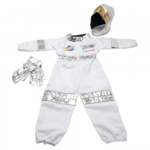 Melissa & Doug Astronaut Role Play Costume Set (5pc) - Jumpsuit, Helmet, Gloves, Name Tag, Adult Unisex, Size: Small, Red/Gold/Silver Clearance Sale