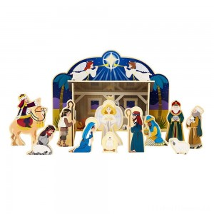 Melissa & Doug Classic Wooden Christmas Nativity Set With 4-Piece Stable and 11 Wooden Figures Clearance Sale