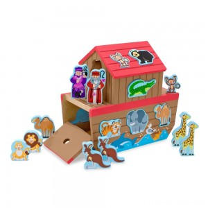 Melissa & Doug Noah's Ark Wooden Shape Sorter Educational Toy (28pc) Clearance Sale