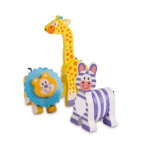 Melissa & Doug First Play Set of 3 Safari Animal Wooden Grasping Toys Clearance Sale