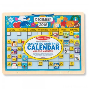 Melissa & Doug Monthly Magnetic Calendar With 133 Magnets and 2 Fabric-Hinged Dry-Erase Boards Clearance Sale