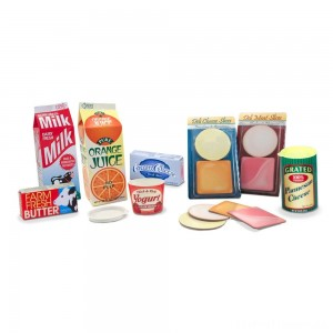 Melissa & Doug Fridge Groceries Play Food Cartons (8pc) - Toy Kitchen Accessories Clearance Sale
