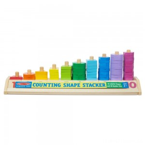 Melissa & Doug Counting Shape Stacker - Wooden Educational Toy With 55 Shapes and 10 Number Tiles Clearance Sale
