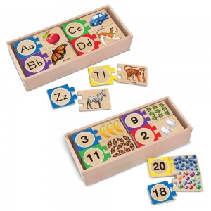 Melissa & Doug Self-Correcting Letter and Number Wooden Puzzles Set With Storage Box 92pc Clearance Sale