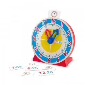 Melissa & Doug Turn & Tell Wooden Clock - Educational Toy With 12+ Reversible Time Cards Clearance Sale