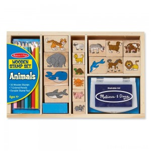 Melissa & Doug Wooden Stamp Set: Animals - 16 Stamps, 4 Colored Pencils, Stamp Pad Clearance Sale