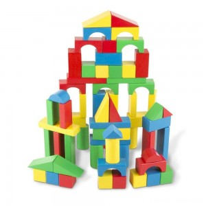 Melissa & Doug Wooden Building Blocks Set - 100 Blocks in 4 Colors and 9 Shapes Clearance Sale