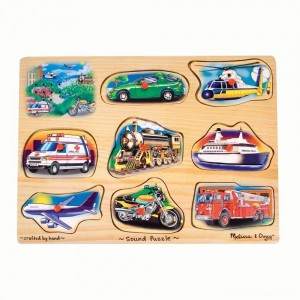 Melissa And Doug Vehicle Puzzle Wooden Peg Sound Puzzle 8pc Clearance Sale