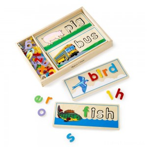 Melissa & Doug See & Spell Wooden Educational Toy With 8 Double-Sided Spelling Boards and 64 Letters Clearance Sale