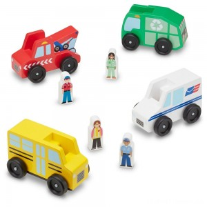 Melissa & Doug Community Vehicles Play Set - Classic Wooden Toy With 4 Vehicles and 4 Play Figures Clearance Sale