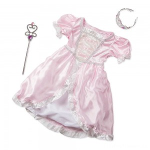 Melissa & Doug Princess Role Play Costume Set (3pc)- Pink Gown, Tiara, Wand, Women's, Size: Small Clearance Sale