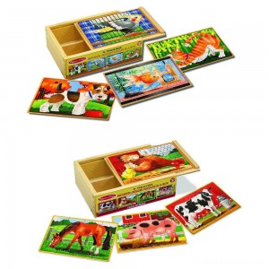 Melissa & Doug Animals 4-in-1 Wooden Jigsaw Puzzles Set - Pets and Farm 96pc Clearance Sale