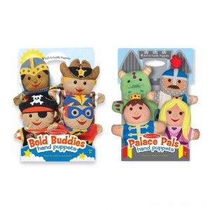 Melissa & Doug Adventure Hand Puppets (Set of 2, 4 puppets in each) - Bold Buddies and Palace Pals Clearance Sale