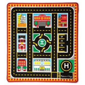 Melissa & Doug Round The City Rescue Rug With 4 Wooden Vehicles (39 x 36 inches) Clearance Sale