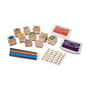 Melissa & Doug Wooden Classroom Stamp Set With 10 Stamps, 5 Colored Pencils, 4 Sticker Sheets, and 2-Colored Stamp Pad Clearance Sale