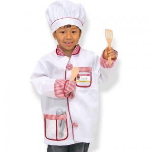 Melissa & Doug Chef Role Play Costume Dress -Up Set With Realistic Accessories, Adult Unisex, Red/Gold/red Clearance Sale