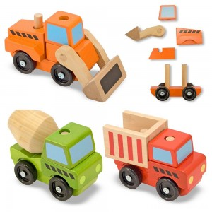 Melissa & Doug Stacking Construction Vehicles Wooden Toy Set Clearance Sale