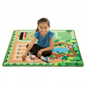Melissa & Doug Round the Ranch Horse Activity Rug (39 x 36 inches) With 4 Play Horses and Folding Fence Clearance Sale
