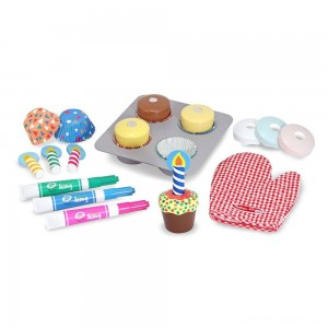 Melissa & Doug Bake and Decorate Wooden Cupcake Play Food Set Clearance Sale