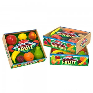 Melissa & Doug Playtime Produce Fruits Play Food Set With Crate (9pc) Clearance Sale