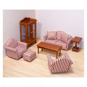 Melissa & Doug Classic Victorian Wooden and Upholstered Dollhouse Living Room Furniture (9pc) Clearance Sale