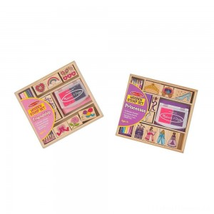 Melissa & Doug Wooden Stamps, Set of 2 - Princess and Friendship, With 18 Stamps, 10 Colored Pencils, and 2 Stamp Pads Clearance Sale