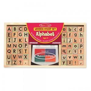 Melissa & Doug Wooden Alphabet Stamp Set - 56 Stamps With Lower-Case and Capital Letters Clearance Sale