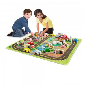 Melissa & Doug Deluxe Activity Road Rug Play Set with 49pc Wooden Vehicles and Play Clearance Sale