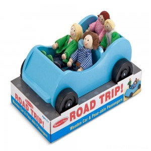 Melissa & Doug Road Trip Wooden Toy Car and 4 Poseable Dolls (4-5 inches each) Clearance Sale