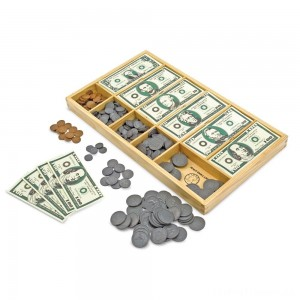 Melissa & Doug Play Money Set - Educational Toy With Paper Bills and Plastic Coins (50 of each denomination) and Wooden Cash Drawer for Storage Clearance Sale
