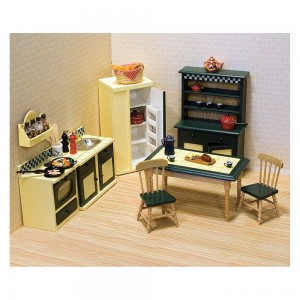 Melissa & Doug Classic Wooden Dollhouse Kitchen Furniture (7pc) - Buttery Yellow/Deep Green Clearance Sale