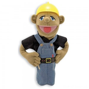 Melissa & Doug Construction Worker Puppet With Detachable Wooden Rod for Animated Gestures Clearance Sale
