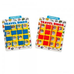 Melissa & Doug Flip to Win Travel Bingo Game - 2 Wooden Game Boards, 4 Double-Sided Cards, Kids Unisex Clearance Sale