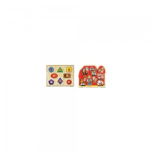 Melissa & Doug Jumbo Knob Wooden Puzzles - Shapes and Farm Animals 2pc Clearance Sale