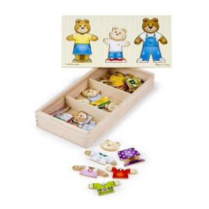 Melissa & Doug Mix 'n Match Wooden Bear Family Dress-Up Puzzle With Storage Case (45pc) Clearance Sale