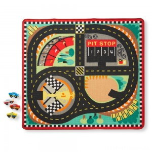Melissa & Doug Round the Speedway Race Track Rug With 4 Race Cars (39 x 36 inches) Clearance Sale