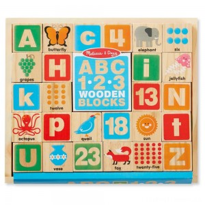Melissa & Doug ABC/123 Wooden Blocks (26pc) Clearance Sale