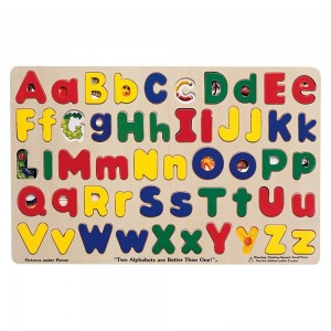 Melissa & Doug Upper & Lower Case Alphabet Letters Wooden Puzzle (52pc) Clearance Sale