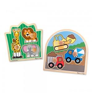 Melissa & Doug Jumbo Knob Wooden Puzzles Set - Construction and Safari 6pc Clearance Sale