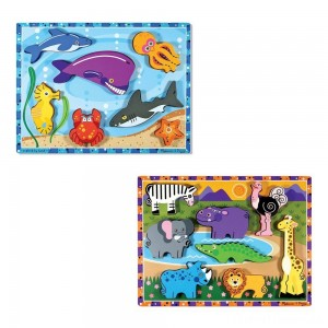 Melissa & Doug Chunky Puzzle 7pc Bundle - Safari & Sea Creatures Clearance Sale