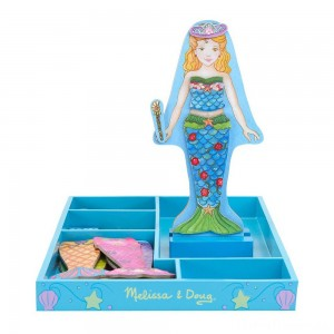 Melissa & Doug Merry Mermaid Wooden Dress-Up Doll and Stand - 35 Magnetic Accessories Clearance Sale