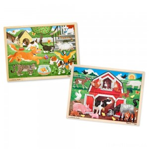Melissa & Doug Animals Wooden Jigsaw Puzzle Sets - Pets and Farm 24pc each, 48pc Clearance Sale