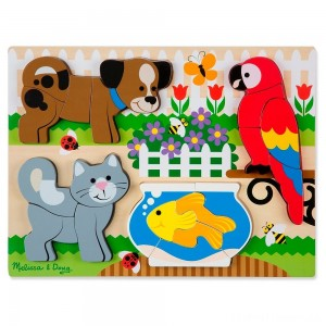Melissa & Doug Pets Wooden Chunky Jigsaw Puzzle - Dog, Cat, Bird, and Fish (20pc) Clearance Sale